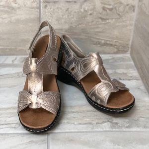 Clarks metallic sandals.